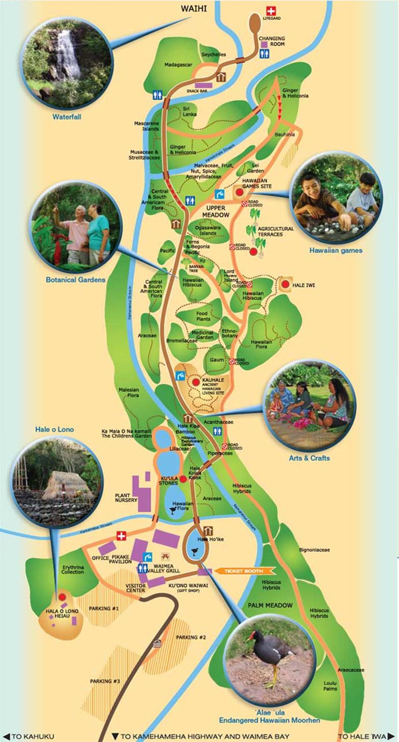 Map - Waimea Valley Park, Oahu, Hawaii