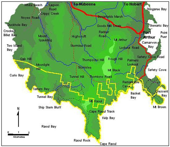 Cape Raoul Tasmania map