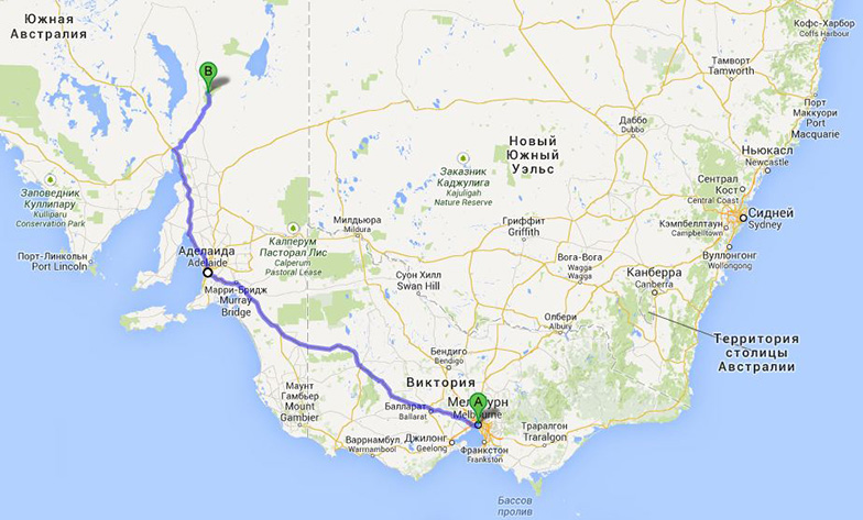 Map - Melbourne-Adelaide-Flinders ranges, Australia