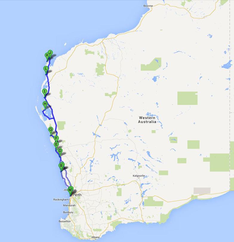 Путешествие по Западной Австралии Карта