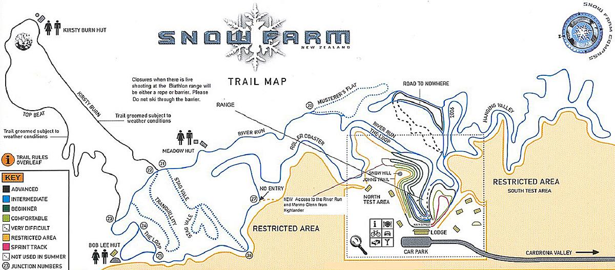 Snow Farm map, New Zealand