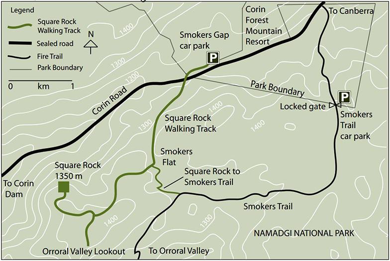 Карта Square Rock пеший трек Намаджи парк Австралия
