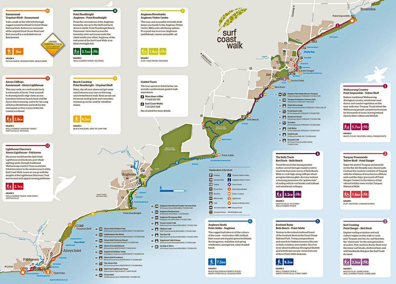 Австралия Большая Океанская дорога пеший трек карта