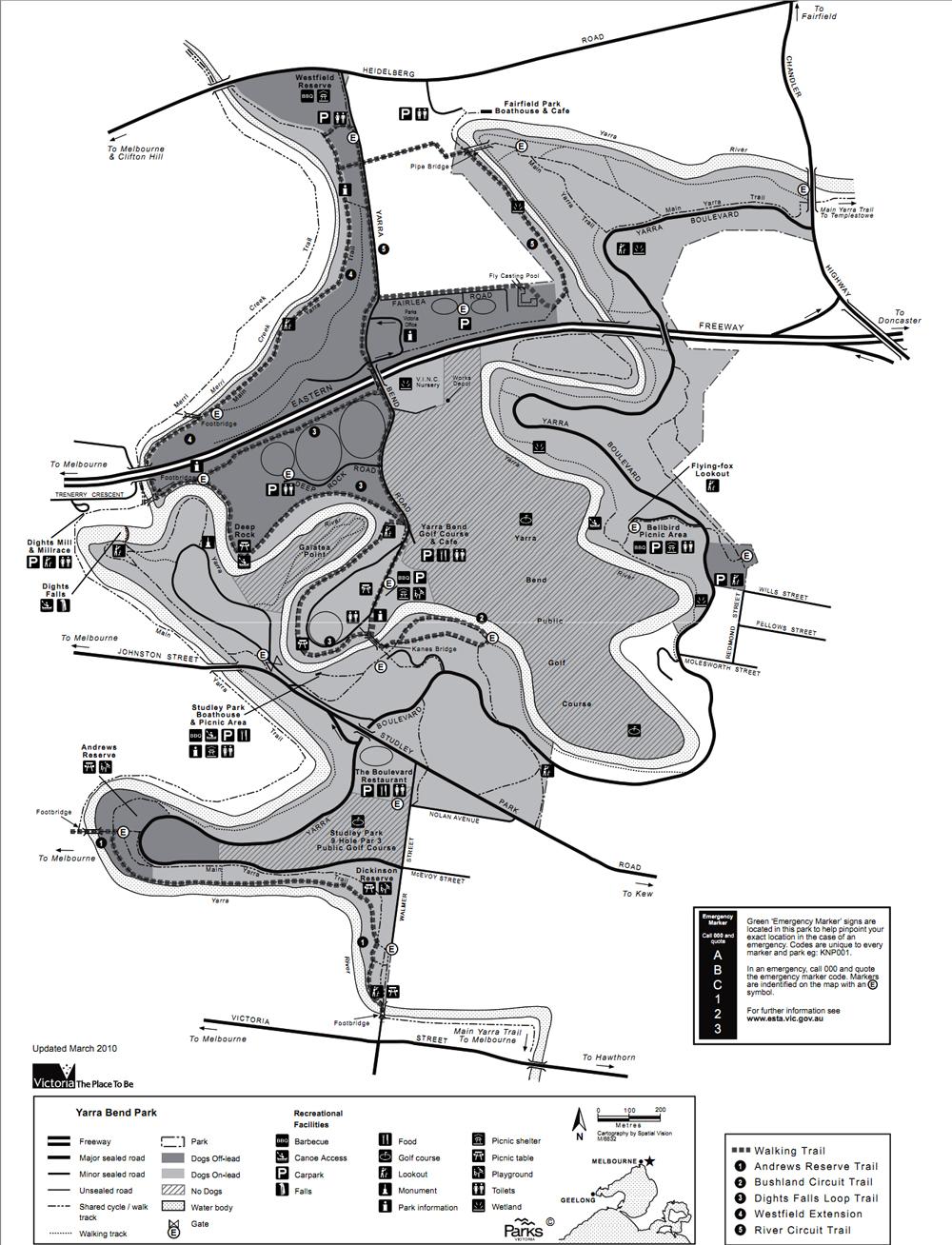 Australia Melbourne Yarra Bend Park Map