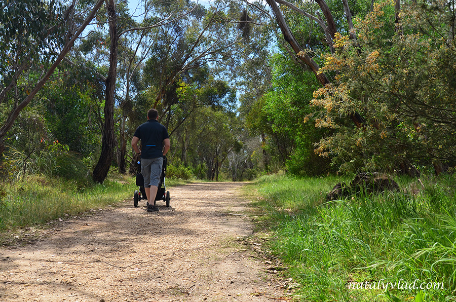 Прогулка с детской коляской в парке