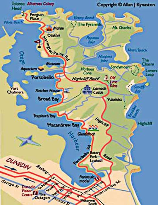 Новая Зеландия Полуостров Отаго Карта