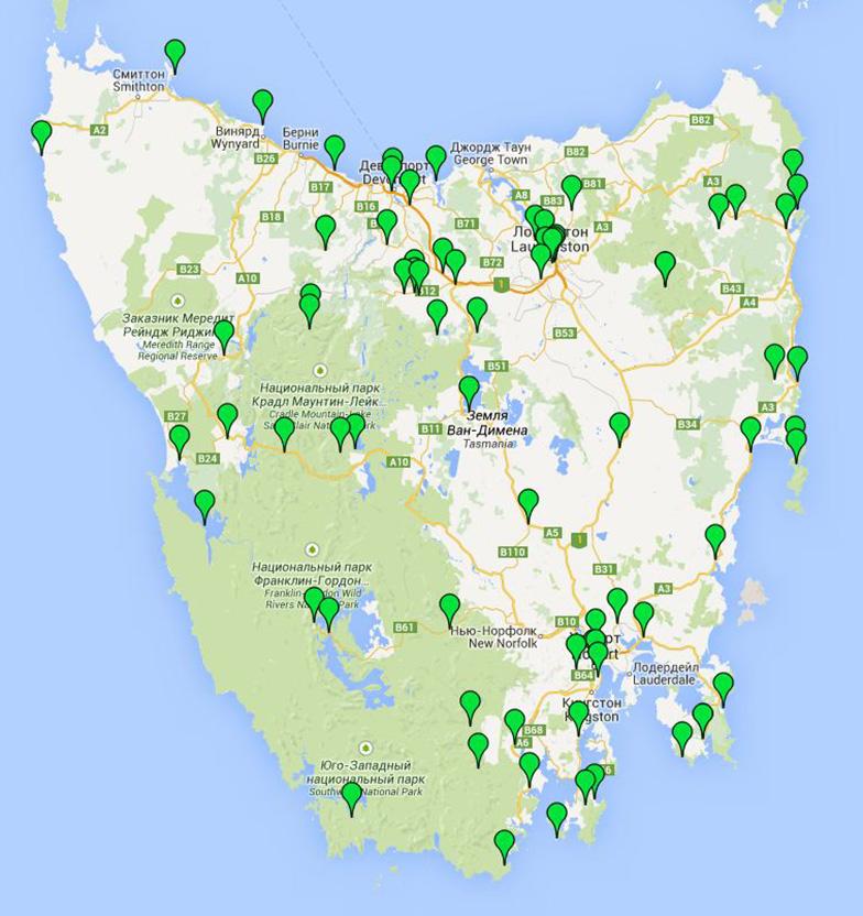 Самостоятельные путешествия по Тасмании Карта