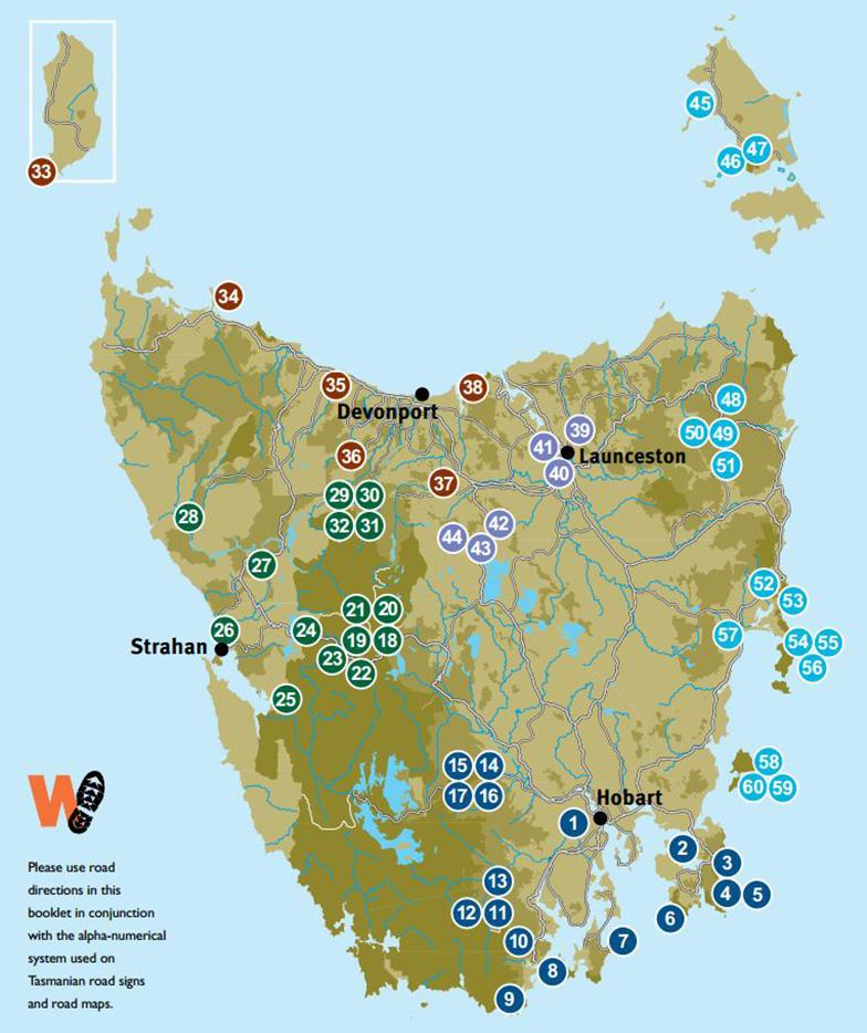 Пешие маршруты на Тасмании карта