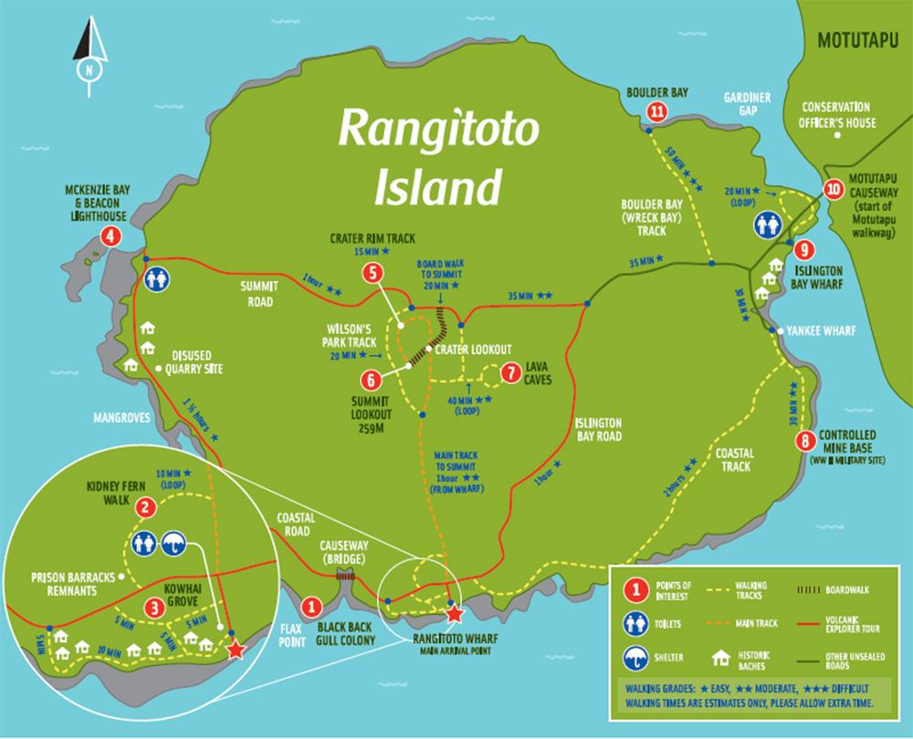 Новая Зеландия Остров Рангитото Карта