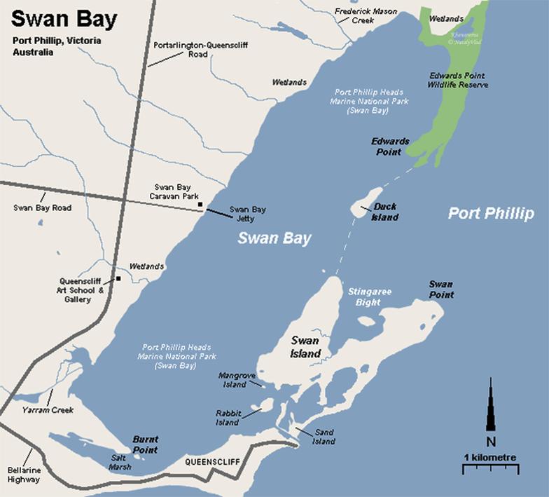 Swan Bay Map Australia