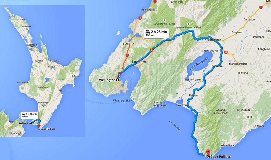 Южная точка Северного острова Новой Зеландии карта