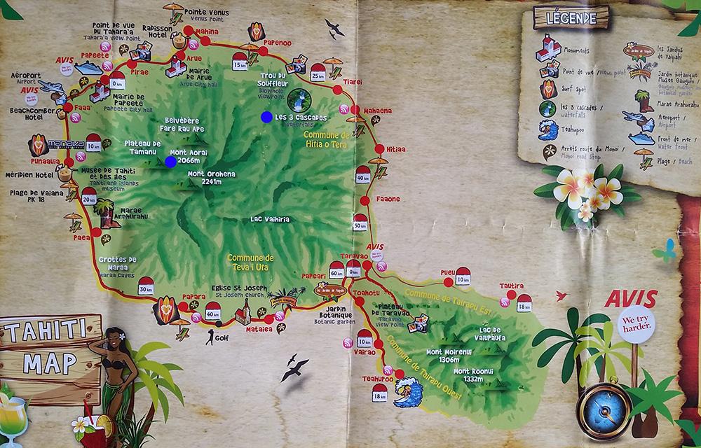 Карта Таити