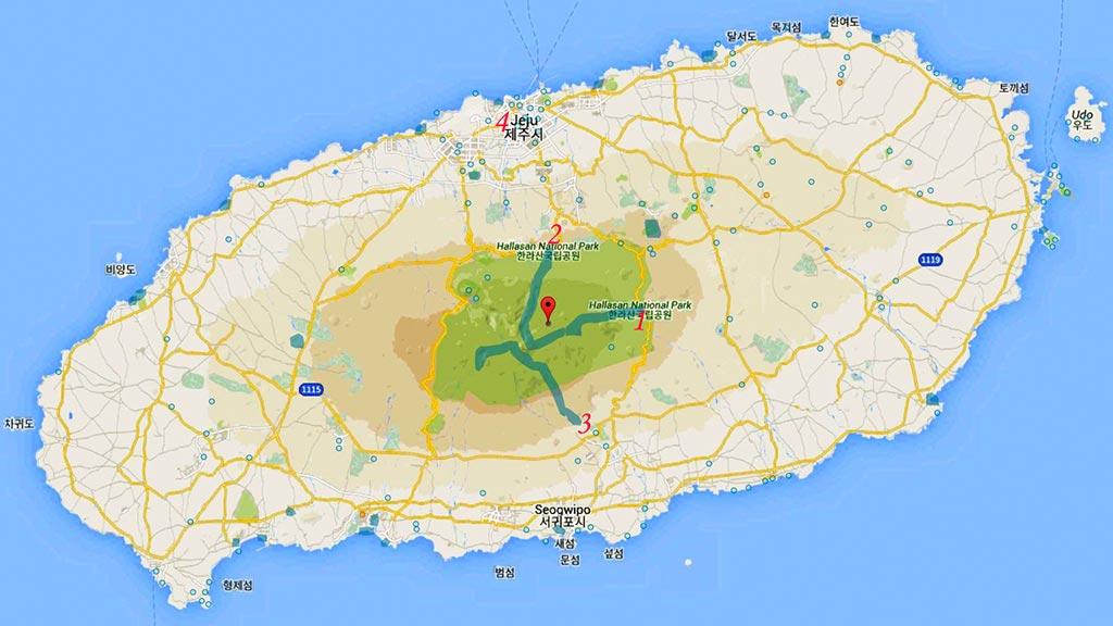 Остров Чеджу Карта